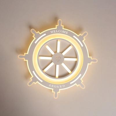 White Round Rudder Ceiling Lamp Nautical Style Acrylic LED Flush Light Fixture for Nursing Room