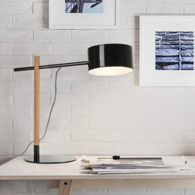 Woody Round LED Table Light Modern Chic Simple Table Light for Office with Steel Base