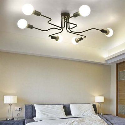 Wrought Iron Large Ceiling Fixture Industrial Vintage 6 Light Flush Mount Ceiling Light in Black