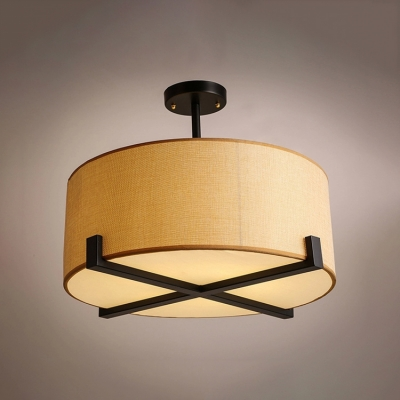 5 Bulbs Drum Suspended Lamp Minimalist Fabric Decorative Chandelier Light for Living Room