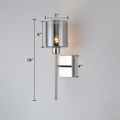 Armed Sconce Lighting Simplicity Smoke Glass Single Light Wall Light Fixture in Chrome