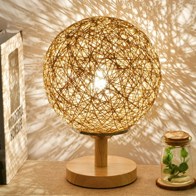 Ball Shade Desk Light Contemporary Country Style Woody Night Lamp in Beige/Brown
