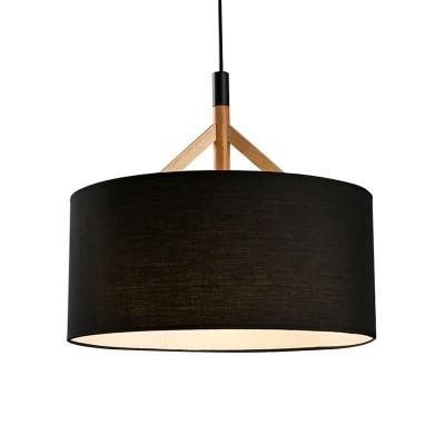Black Drum Drop Ceiling Lighting Concise Modern Fabric Single Light