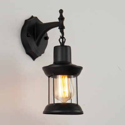 Black Finish Metal Cage Wall Sconce Nautical Style 1 Light Lighting Fixture for Courtyard