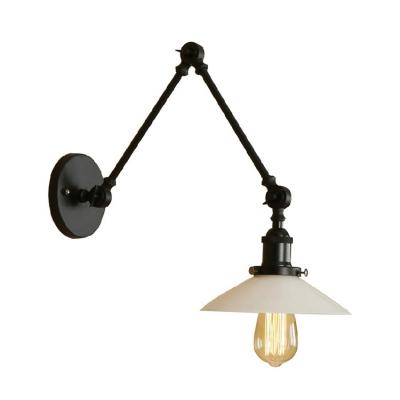 Black Finish Swing Arm Lighting Fixture Concise Opal Gl