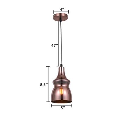 Bottle Suspended Light Modernism Glass Single Light Pendant Lamp in Copper for Hallway