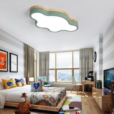 Cloud Shade Flush Light Colorful Nordic Style Boys Girls Bedroom Metal LED Flush Mount Light