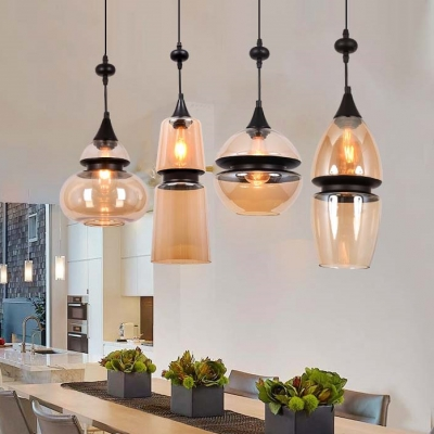 Cognac Glass Drip Drop Pendant Light Contemporary Single Head Drop Ceiling Lighting