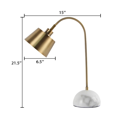 Conical Table Light Contemporary Metal Reading Light in Brass with Gooseneck for Office