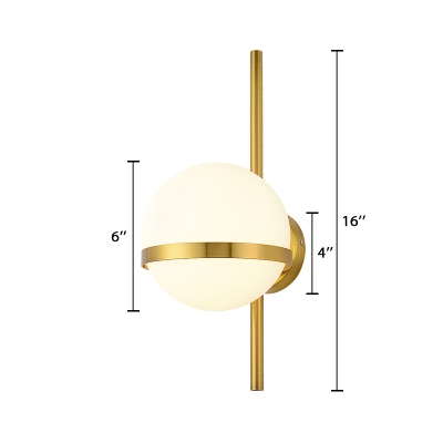 Gold Finish Orb Wall Lamp Modern Fashion Milky Glass 1 Head Lighting Fixture for Foyer