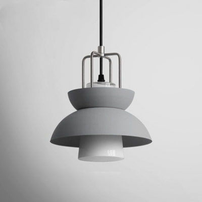 Gray Dome Shade Suspended Light Designers Style White Glass Accent Suspended Lighting