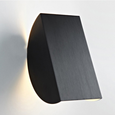 Half Round Wall Lamp Designers Style Brushed Aluminum Wall Sconce in Black for Staircase