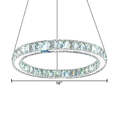 Halo Ring Suspended Lamp Contemporary Crystal Art Deco Chandelier Light for Sitting Room