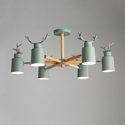 Horn 6 Lights Chandelier with Antler Green Wooden Decorative Hanging Lamp for Children Room
