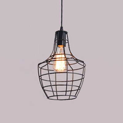 Industrial Single Pendant Light E27 Lighting with Wrought Iron Metal Frame in Black