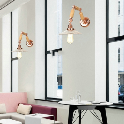 Modernism Scalloped Sconce Light with Wooden Adjustable Arm 1 Bulb Wall Mount Light in Rose Gold
