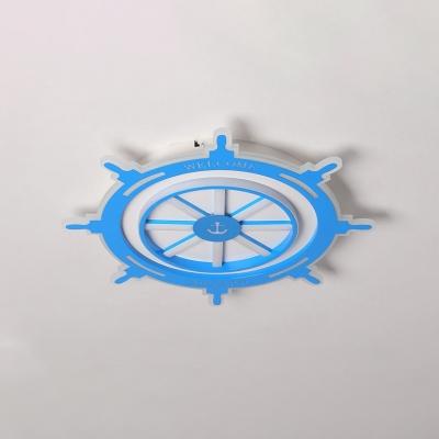 Nautical Style Round Rudder Flushmount Boys Bedroom Acrylic LED Flush Ceiling Light in Blue