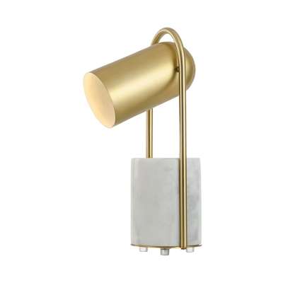 Rotatable Elongated Dome Desk Light Designers Style Metal Table Light in Gold for Bedside
