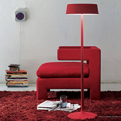 Round Shade Living Room Lighting Simplicity Metal 3 Light Decorative Floor Light in Red