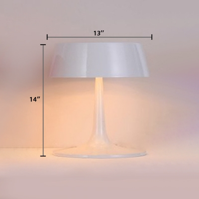 Round Shade Table Lamp Contemporary Metal 3 Light Desk Light in White for Bedside