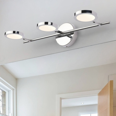 Stainless Armed Led Wall Mount Fixture Modernism Multi Lights Vanity
