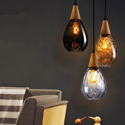 Wooden Teardrop Hanging Light Modernism 1 Light Pendant Lamp in Amber/Clear/Smoke