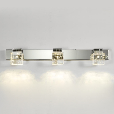 1/2/3/4 Lights Square Makeup Light Contemporary Stainless LED Vanity Light in Warm/White