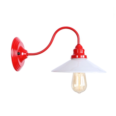 Beautifulhalo coupon: 1 Bulb Curved Arm Wall Light Loft Style White Glass Wall Mount Fixture in Red Finish for Hallway