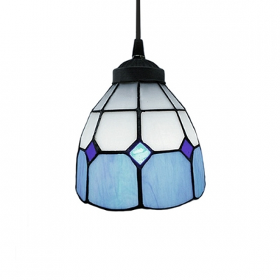 5.5 Inch Width Tiffany Style Polygon Shape Shade Mini Pendant Light