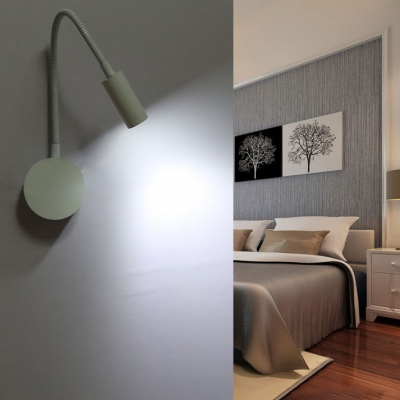 Adjustable 1 Light Gooseneck Wall Lamp Contemporary Metal LED Sconce Light in Warm/White