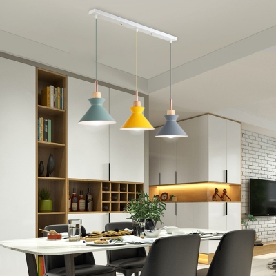 Adjustable Dome/Cone Drop Light Modernism Wood 3 Lights Pendant Light in Gray/Green/Yellow