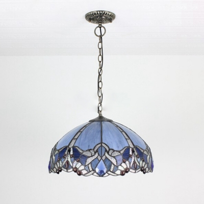 Baroque Style Brightly Hued 2 Light Ceiling Pendant with Tiffany Dome Pattern Glass Shade for Living Room