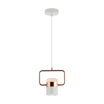 Cylinder LED Pendant Lamp Elegant Acrylic Suspended Ceiling Light in Rose Gold for Kitchen