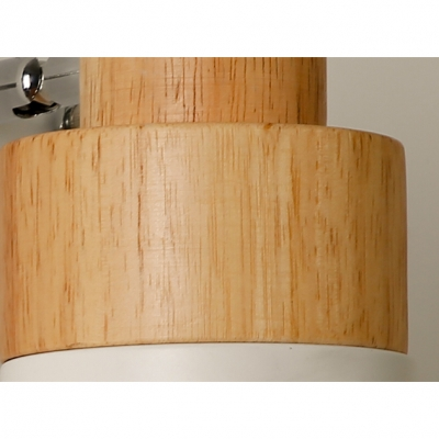 Cylinder Shade Mini Wall Lamp Modernism Rotatable Wood 1 Head Wall Mount Light in White