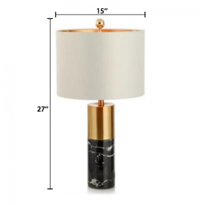 Cylindrical Desk Light Modern Fashion Stony Reading Lamp in White for Study Room