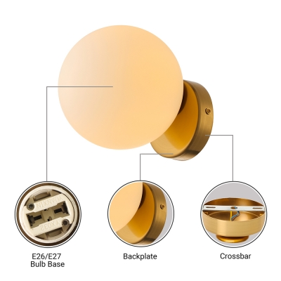 Designers Style Globe Wall Lighting Frosted Glass 1 Bulb Wall Light Sconce in Polished Brass