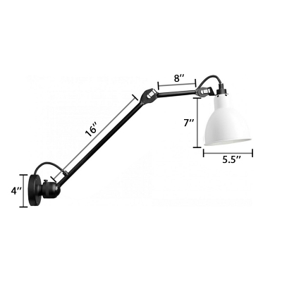 Dome Wall Mounted Light Industrial Contemporary Metal Arm Adjustable Wall Sconce