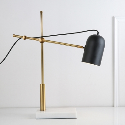 Elongated Dome Shade Table Lamp Elegant Modern Boom Arm Table Light for Studio Office