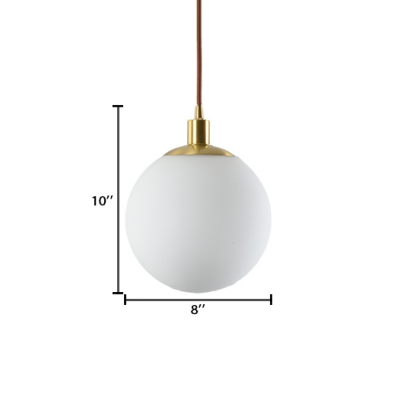 Globe Hanging Lamp Modern Fashion Milky Glass Pendant Light in Brass for Living Room