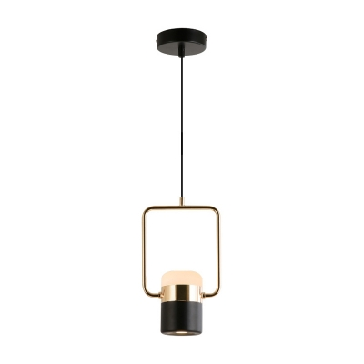 Gold Cylinder Suspended Ceiling Light Designers Style Adjustable Acrylic LED Drop Light