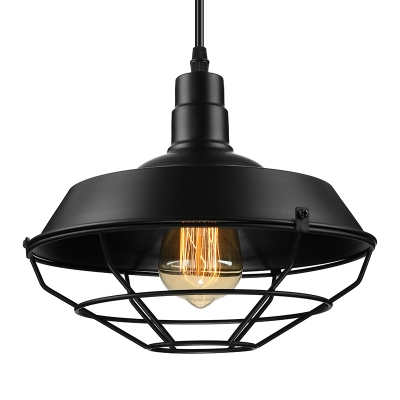 Industrial Barn 1 Lt Pendant Light in Black with Wire Guard for Dining Table Kitchen Island