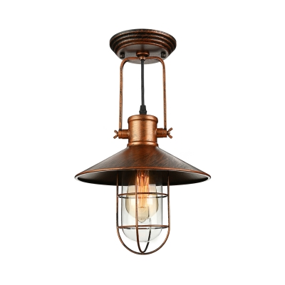 Industrial Hanging Pendant Light with Flared Shade Wire Metal Cage in Rust