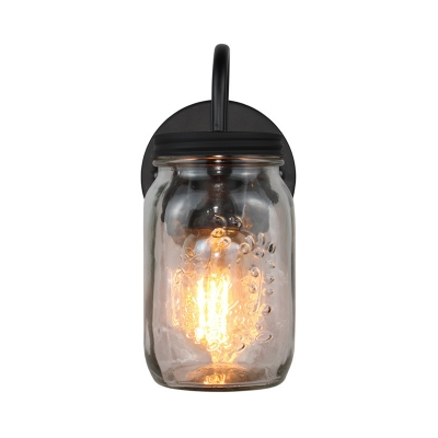 Jar Shape Sconce Lighting Industrial Simple Glass Shade Single Head Wall Light Fixture in Black