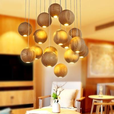 Oak Globe Shade Suspended Lamp Natural Simple Multi Light Pendant Light for Living Room