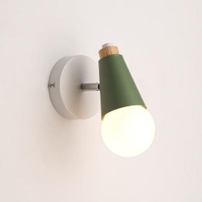 Open Bulb 1 Light Sconce Light Macaron Blue/Green Metal Mini Wall Mount Light for Children Room