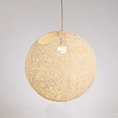 Rattan Ball Shade Suspended Light Natural Simple Ceiling Light in White for Sitting Room