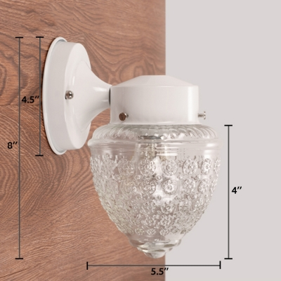 Retro Style Armed Sconce Lighting Textured Glass Single Head Decorative Lighting Fixture in White
