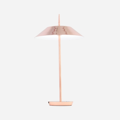 Rose Gold Tapered Table Light Nordic Style Metal 1 Bulb Table Lamp for Coffee Shop Bedroom