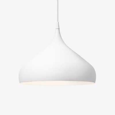 Simplicity Spinning Pendant Lamp Steel 1 Bulb LED Drop Ceiling Lighting in White for Kitchen