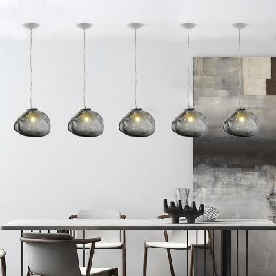 Smoke Glass Snakeskin Pendant Light Modern Design Single Light Drop Ceiling Lighting